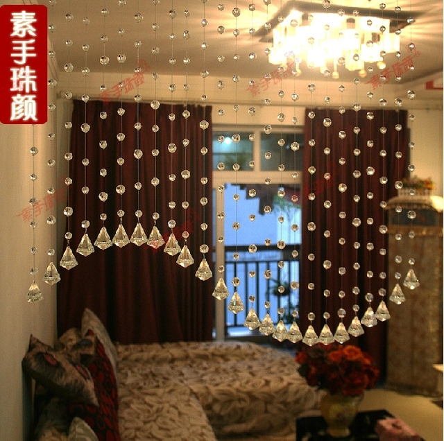 Crystal Bead Curtain 5 Strings Can Be Customized Porch Partition Door Decorative Glass Beads Curtains
