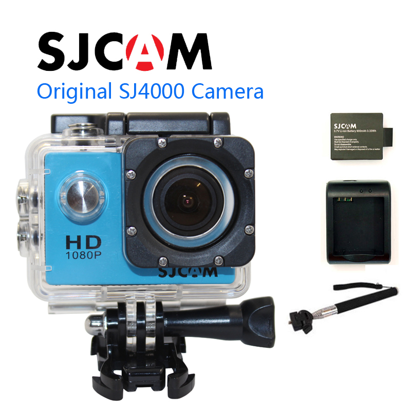 Free shipping! Original SJCAM SJ4000 Diving 30M Waterproof Sport Action Camera + Battery Charger+Extra 1pcs battery+The Monopod стоимость