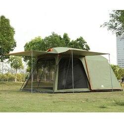 Один зал, одна спальня, 5-8 человек, двухслойная Высококачественная водонепроницаемая ветрозащитная семейная палатка для кемпинга