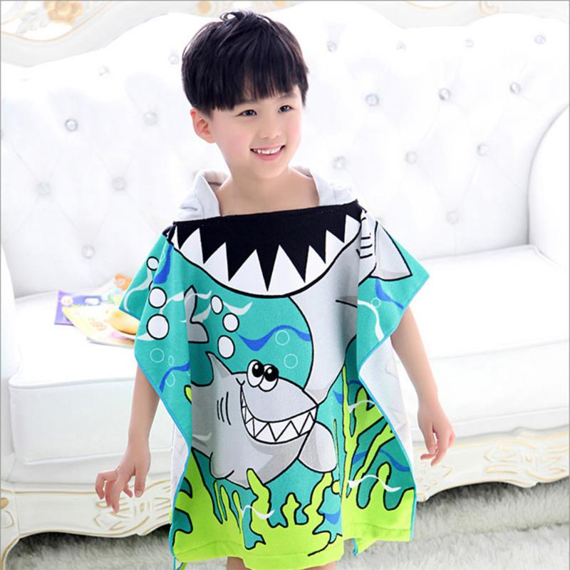 Dedicated Shark Pattern Children Soft Beach Towel Cartoon Hooded Boys Girl Baby Comfortable Bath Towel Children Baby Care Towel 60 X 85cm