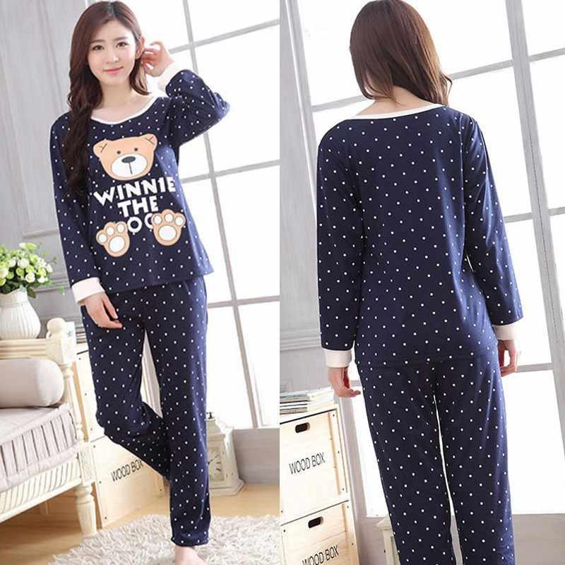 ... Милые Мультяшные женские пижамы наборы Осень-зима женские пижамы женские  с круглым вырезом пижамы женские ... 5f52e48ac398a