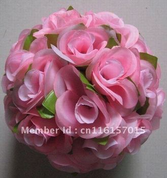 20cm dia. pink Wedding kissing flower ball,event & party decorations with green leaf,10pcs/lot