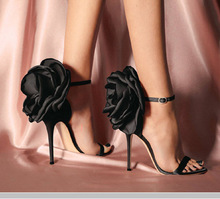 Black Satin Big Flower High Heels Sandals Women Stiletto Summer Ladies Shoes Ankle Strap Sexy Pumps Stylish Sandalias Mujer 2019 цена в Москве и Питере