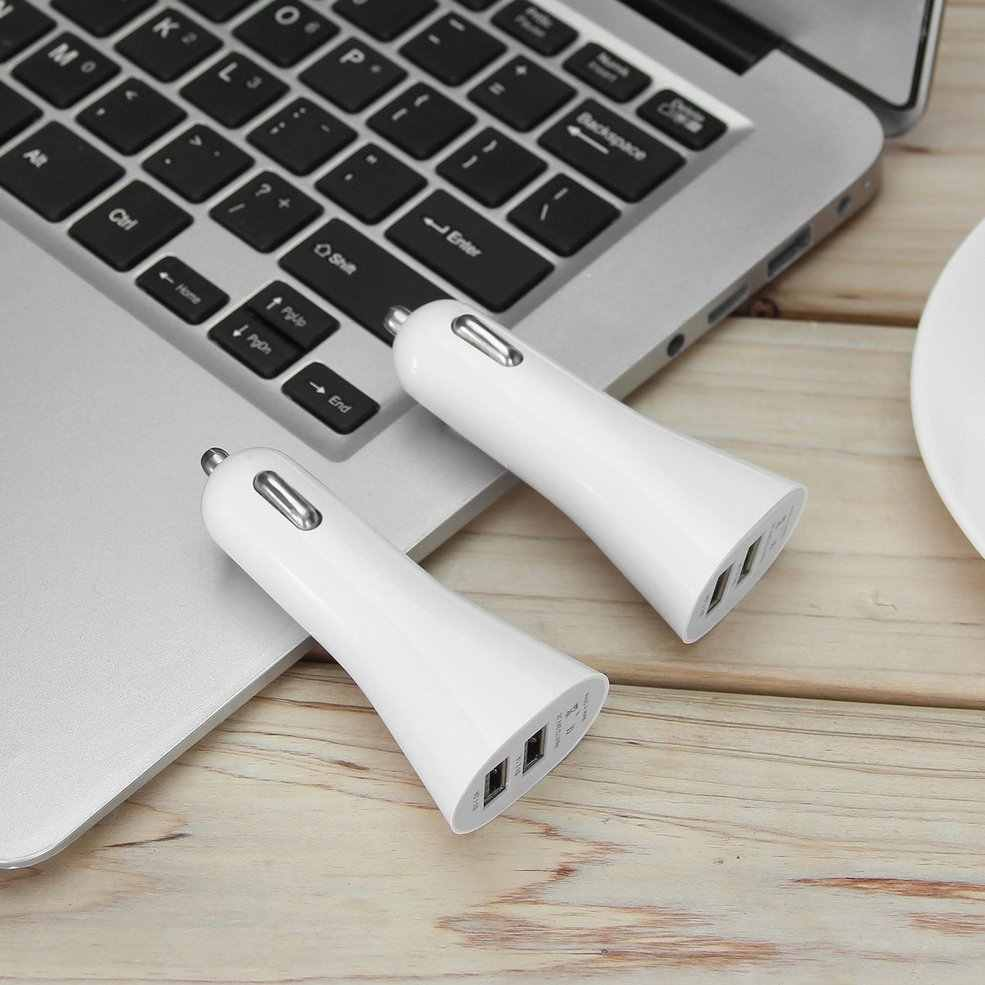 Universal Aluminum Alloy Mini Horn Shaped Dual USB 2-Port Car Charger Adapter Socket 5V 3.1A for Phone Tablet