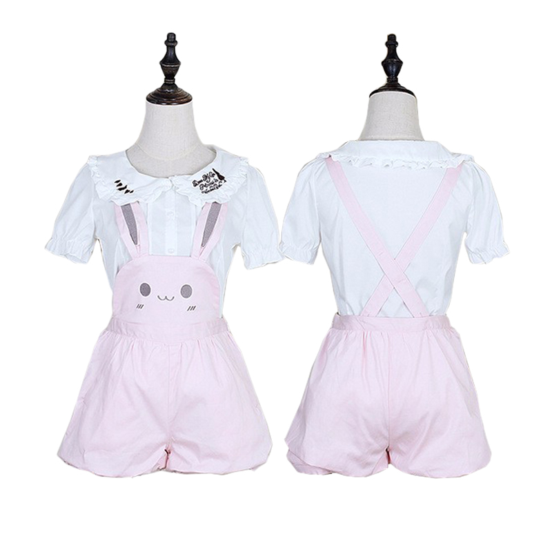 Kawaii Girls Pink Rabbit Bunny Ears Overall Shorts Lolita Women Pink Dungarees Suspenders Shorts
