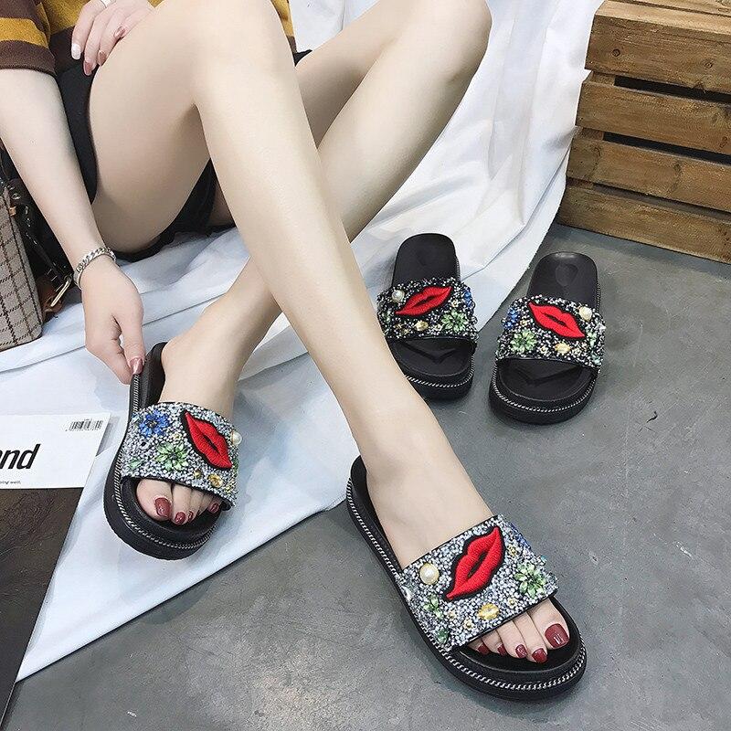 PHYANIC 2018 новые летние модные блестками кожаные женские туфли без задника со стразами красные губы дамы обувь на клиновидной платформе женски...