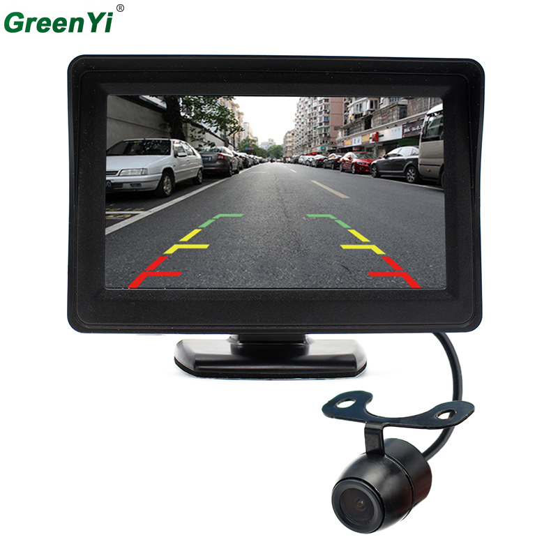 2 in 1 Car Parking Assistance System 4 3 inch Rear View Mirror Monitor Parking Car