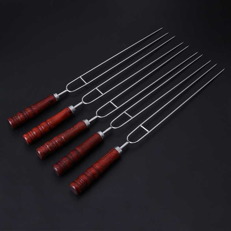 5pcs Roasting Forks With Bag Camping Hot Dog Skewers BBQ Forks Barbecue Tool dls