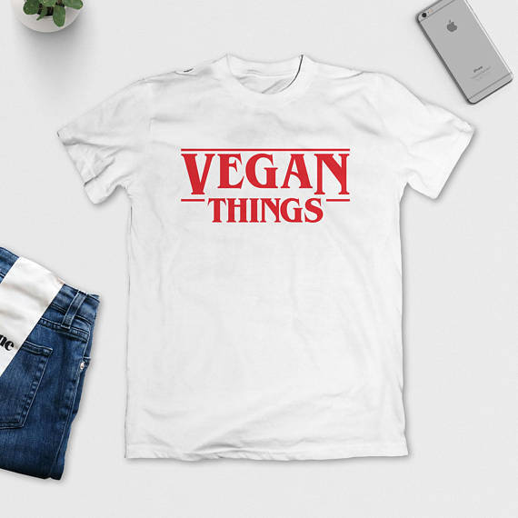 VEGAN THINGS Red Letter Print T-Shirt Funny Letter Print tshirt for women men t shirt Fashion Clothes tees