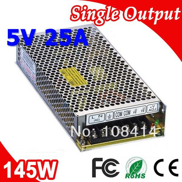 S-145-5 LED Switching Power Supply Power Transformer 145W 5V DC 25A Output