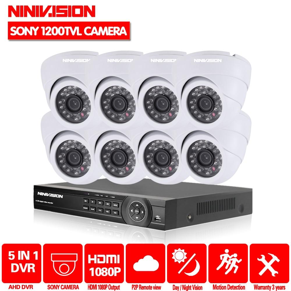 HD SONY 720 P 1200TVL 8CH système de vidéosurveillance 8 canaux Kit de vidéosurveillance DVR Kits HD 1.0MP système de caméras de sécurité 1 to HDD