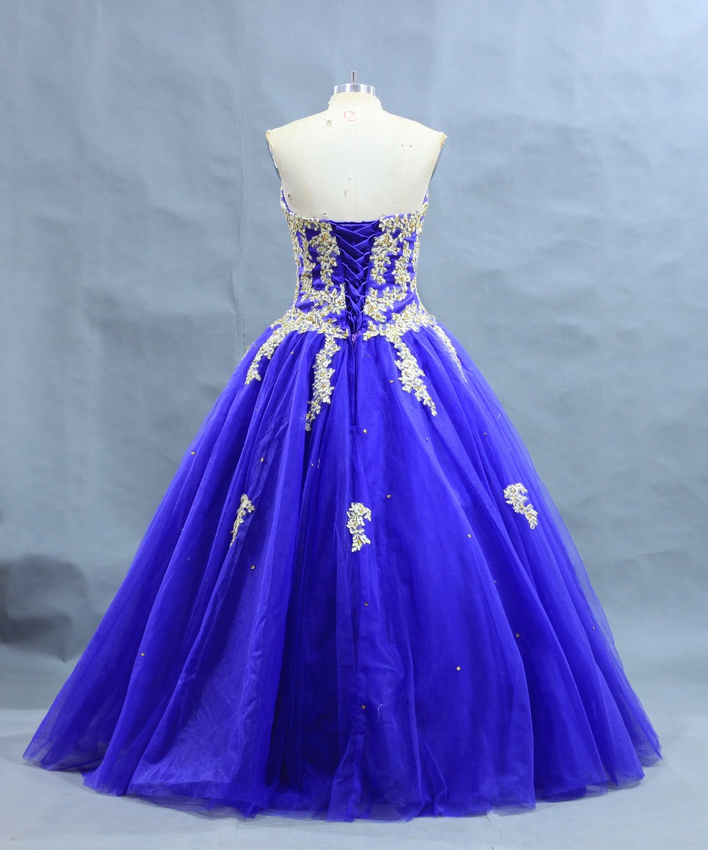 New Arrival Dark Royal Blue Ball Gown Gold Lace Applique Quinceanera ...