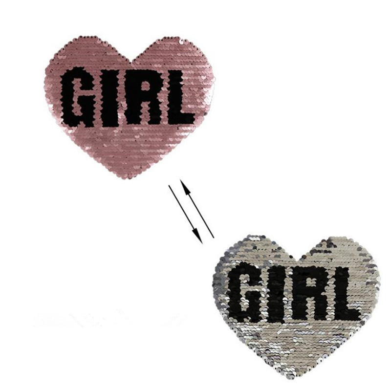 T shirt Women 18cm heart girl patch filp up and down sequins change color deal with it patches for clothing stickers Christmas