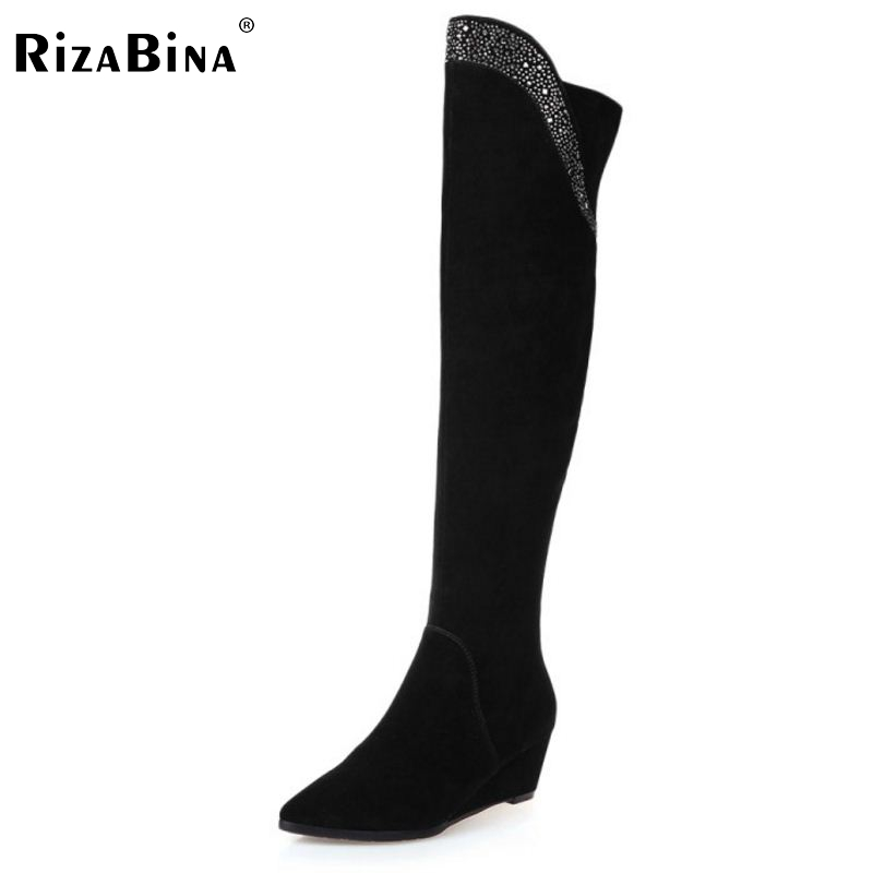2016 Long Wedge Winter real leather Boots Round Toe Fashion Over Knee Boots For font b