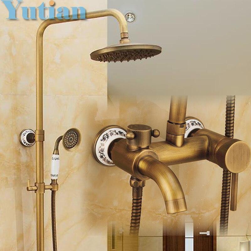 Antique Brass Wall Mounted Mixer Valve Rainfall Shower