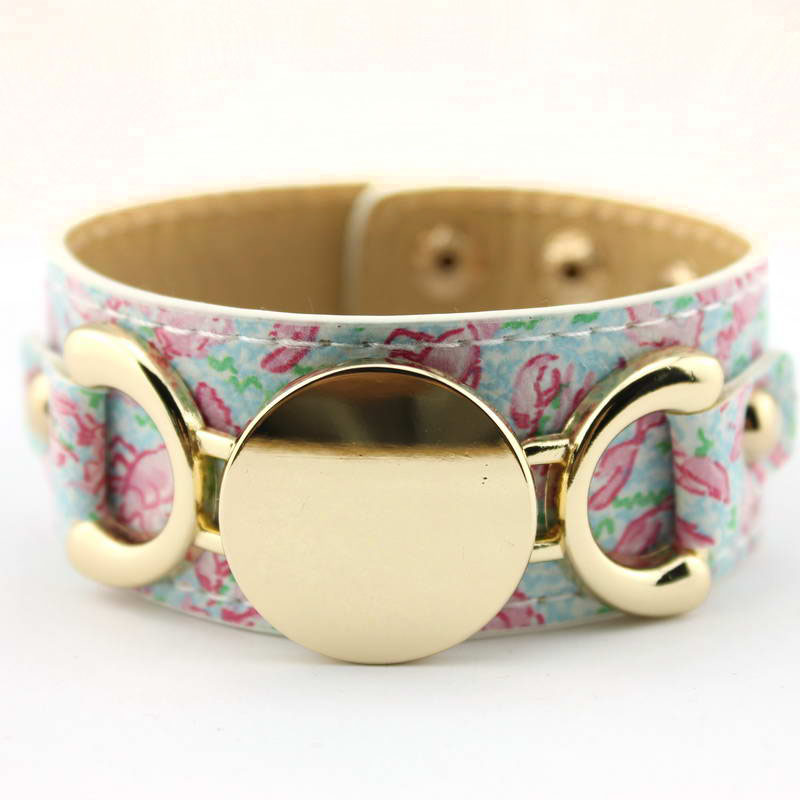 Wrap Prints Leather Bracelets for Women Monogram Disc Blank Personalized Lilly Pulitzer Inspired Leather Bracelets