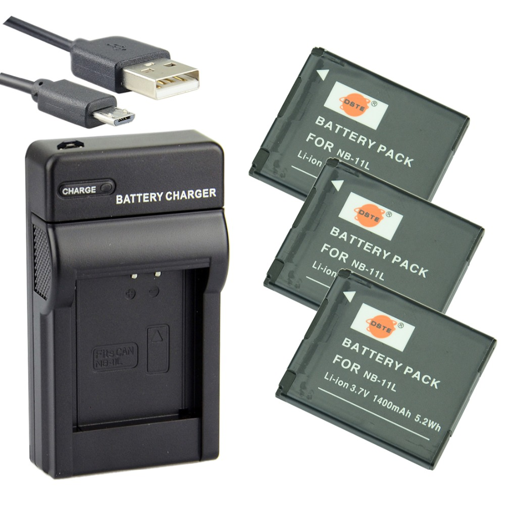 DSTE 3x NB-11L nb-11l Battery with USB Charger for <font><b>Canon</b></font> <font><b>PowerShot</b></font> A3500 <font><b>IS</b></font> ELPH 115 <font><b>IS</b></font> <font><b>SX410</b></font> <font><b>IS</b></font> IXY 220F IXUS 135 IXUS 170 image