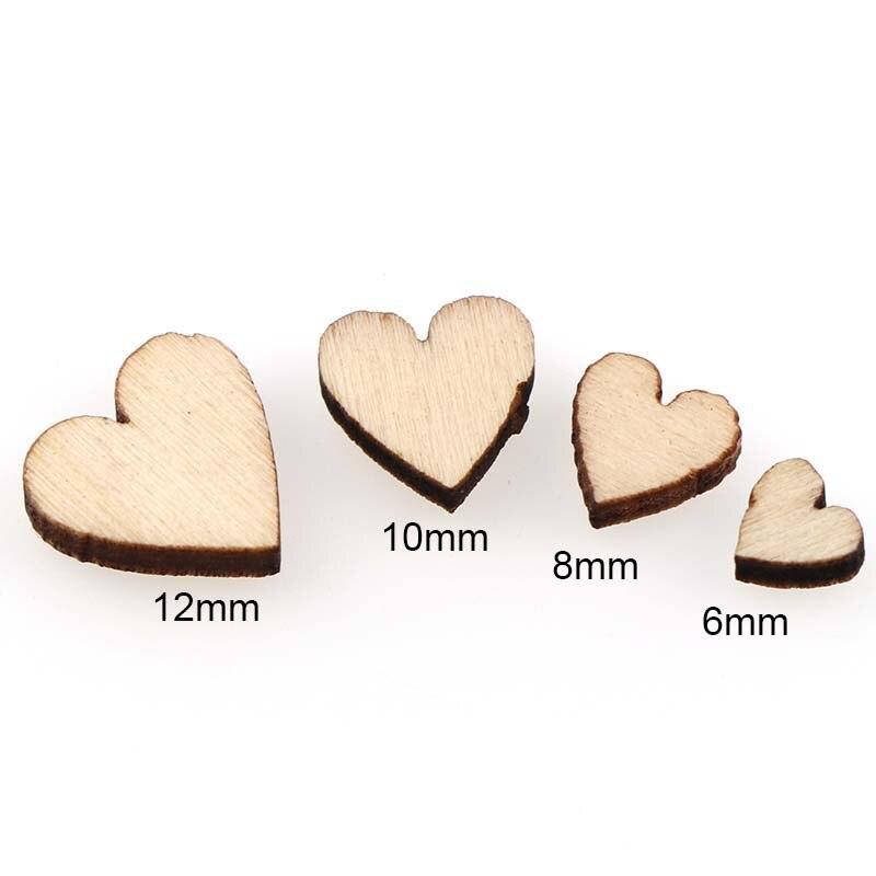Wooden MIXED HEART Birch Embellishments Wedding Craft Card  6-12mm Scrapbook