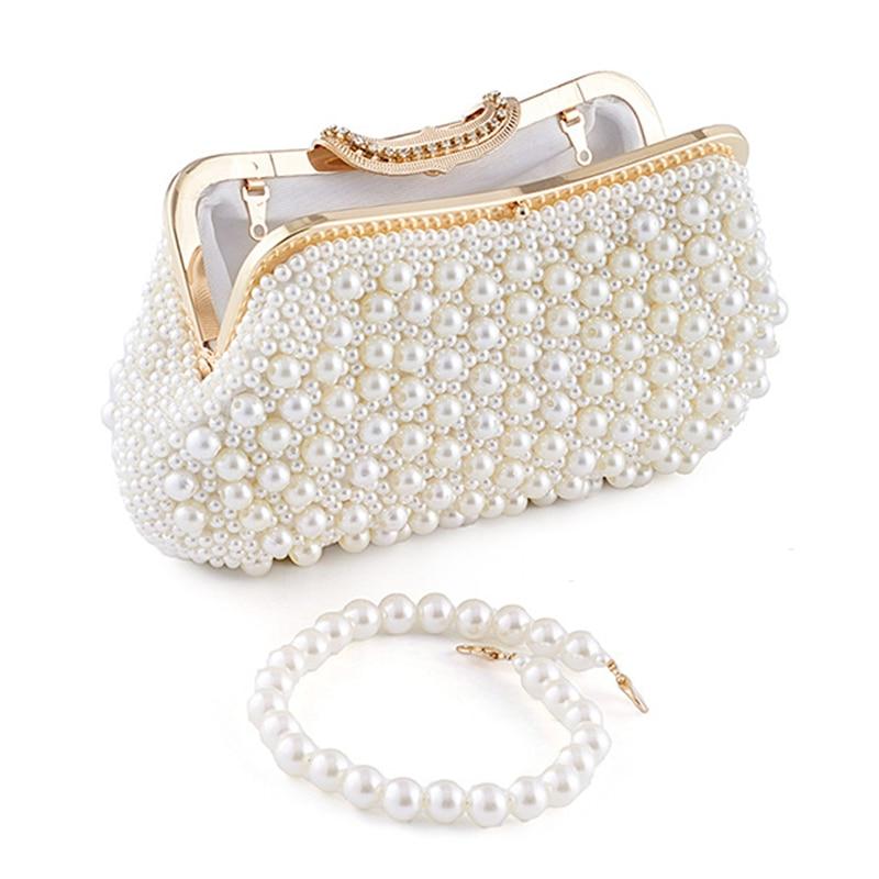 Women Evening Bag Full Pearl Beaded Clutch Ladies Wedding Party Banquet Handbag Female Luxury Shoulder Crossbody Bag Small Purse