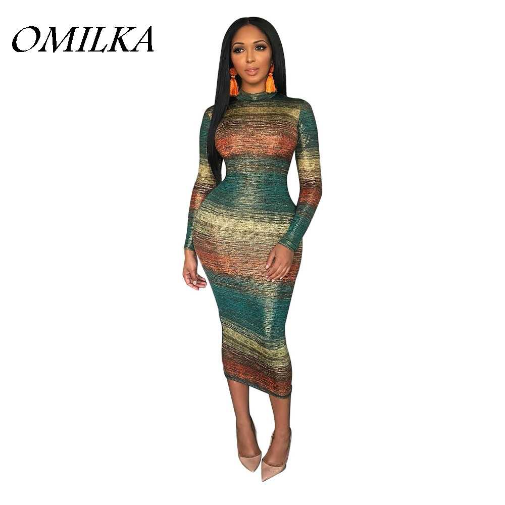 OMILKA 2018 Autumn Women Long Sleeve Stand Neck Striped Printed Sequin  Bodycon Dress Sexy Contrast Color 020faa32fc4a