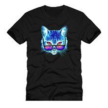 catalistic COSMIC CAT SUN GLASSES mashup dtg mens t shirt tees100% Cotton Short Sleeve O-Neck Tops Tee Shirts Black Style цена и фото