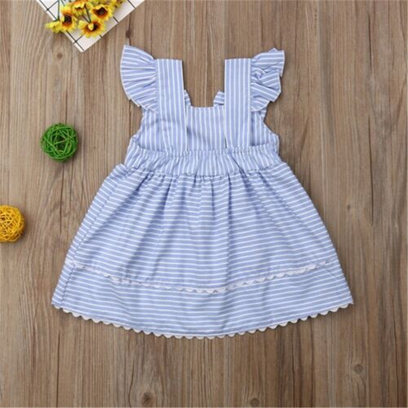 Baby Dresses Girls Blue Princess Kids Summer Sleeveless Striped for Sling Child 6-36-Months title=