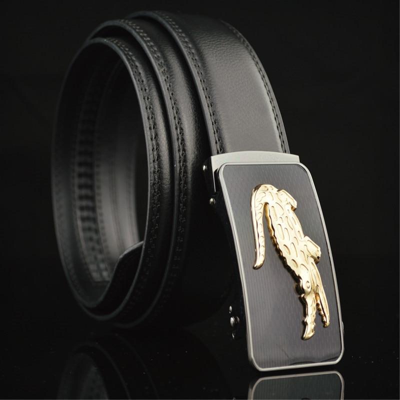 Haute Qualité Hommes Ceintures Automatique Métal Crocodile Boucle Top En  Cuir De Luxe Marque Mode Noir Litchi Bande Points Mâle Ceinture 655d6306166