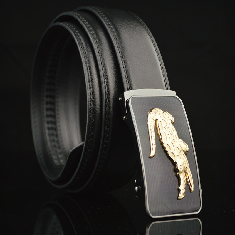 Honey High Quality Men Belts Automatic Metal Crocodile Buckle Top Leather Luxury Brand Fashion Black Litchi Stripe Stitches Male Belt Moderate Cost Back To Search Resultsapparel Accessories
