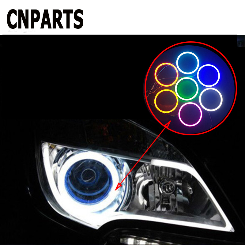CNPARTS Halo Ring Angel Devil Eyes Projector Headlight LED Lights For Mercedes W203 W211 W204 W210 Benz BMW F10 E34 E30 F20 E70 image