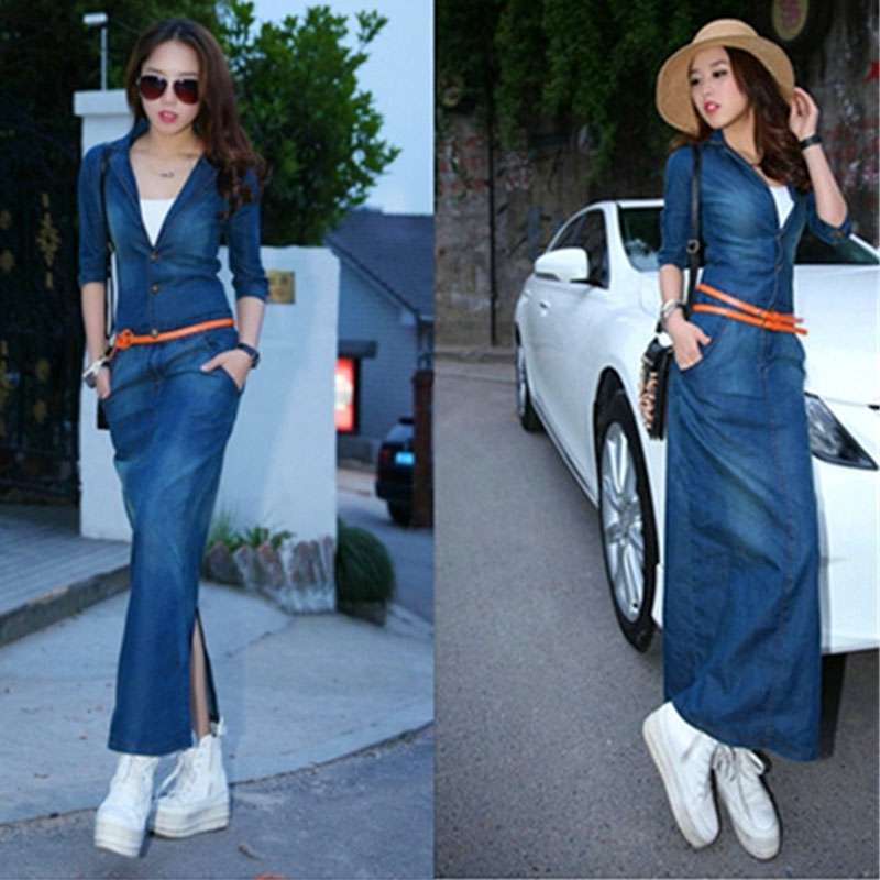 Spring Summer Dress 2017 European Style Women Fashion Long Denim Dress Jeans Dresses Sexy V neck ...