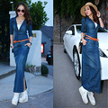 Spring Summer Dress 2017 European Style Women Fashion Long Denim Dress Jeans Dresses Sexy V-neck Bodycon Dress With Belt Q05