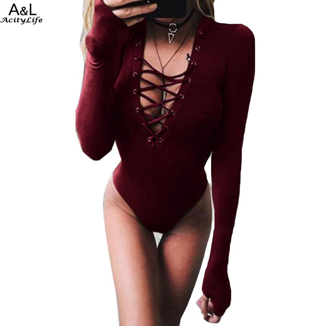 FANALA lace Up Jumpsuit Romper Women Autumn Winter Bandage Bodysuit OverallS Sexy V-neck Thumb Hole Sleeve Playsuit Leotard 2017