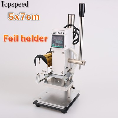 все цены на New 5x7cm Hot Foil Stamping Machine with Foil Holder for PVC Card leather wood paper embossing machine онлайн