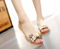 Summer 2017 Fashion Leisure Women Sandals Big Bowtie Peep Toe Soft Women Casual Sandals Clear Crystal