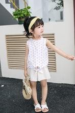 New Arriving Girl  Clothing Children Summer Clothes Cartoon Kids Set T-shit with dress pant