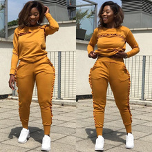 Nowy odkryty zestawy sportowe kobiety siłownia garnitury dres biegowy dwuczęściowy jednolity kolor, długi z długim rękawem ubrania do ćwiczeń dla kobiet Street Style ubrania