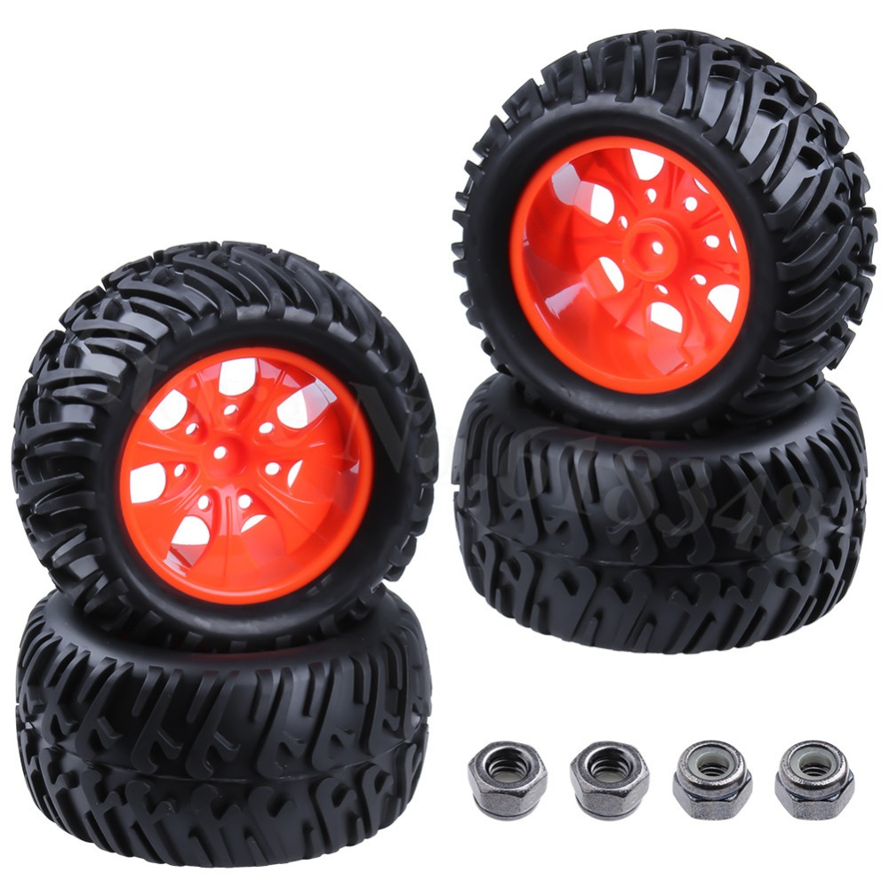 4 unids / lote 125 mm de goma RC 1/10 neumáticos de llantas llantas 12 mm hexagonal con tuerca de nylon M4 para Off Road HPI HSP Monster