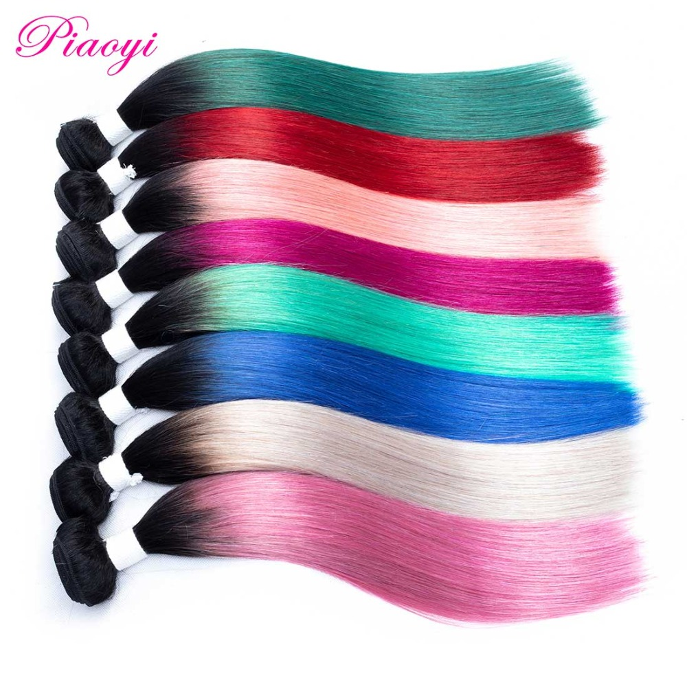 Ombre Hair Bundles Peruvian Straight Hair Weave Bundles 1 Piece Only 10-18 Inches 100% Human Hair Bundles Remy Hair Extensions(China)