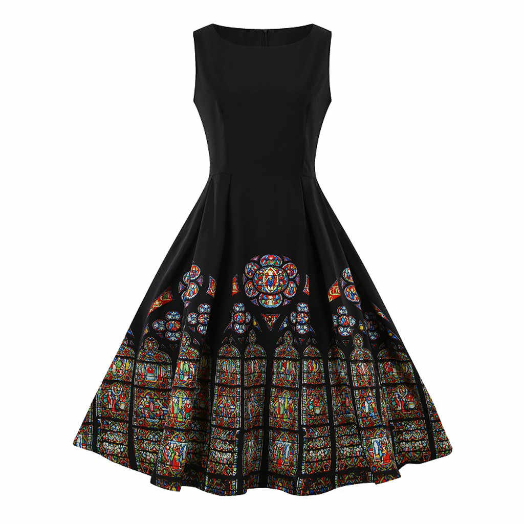 Women Dress Summer Hot Sales Vintage Printing Robes Sexy Sleeveless O Neck Pleated Midi Dresses Black Elagant Party Vestidos