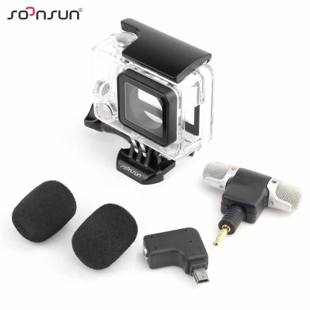 SOONSUN 3 в 1 Скелет сбоку открытый корпус в виде ракушки чехол + микрофон адаптер для Gopro Hero 4 3 интимные аксессуары