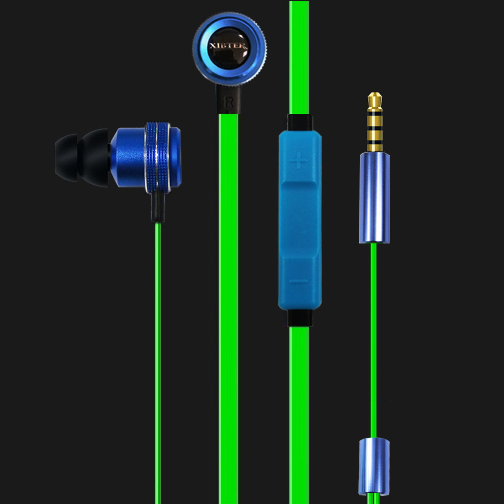 In Ear PC Music Gaming Phone Earphone High end Flat Cable 3.5mm Deep Bass Headset With In line Microphone Remote Gamer Friend