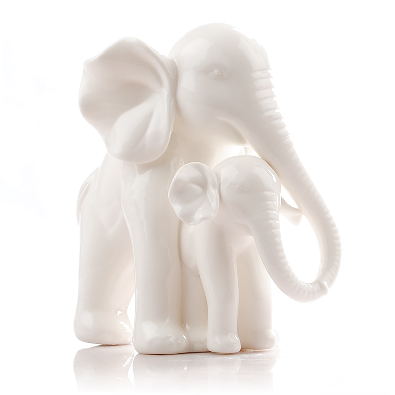 White Ceramic Elephant Home Decor Crafts Room Decoration Ceramic Kawaii Ornament Porcelain Figurines Animal Figurines Decoration