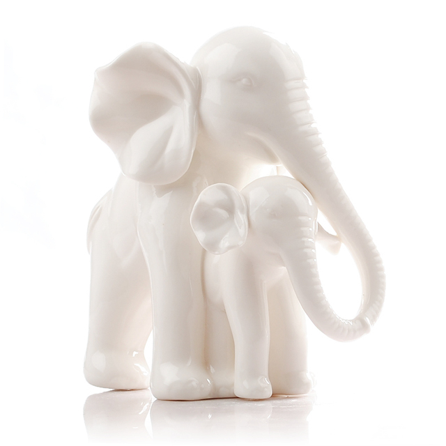 White Ceramic Elephant Home Decor Crafts Room Decoration Kawaii Ornament Porcelain Figurines Animal