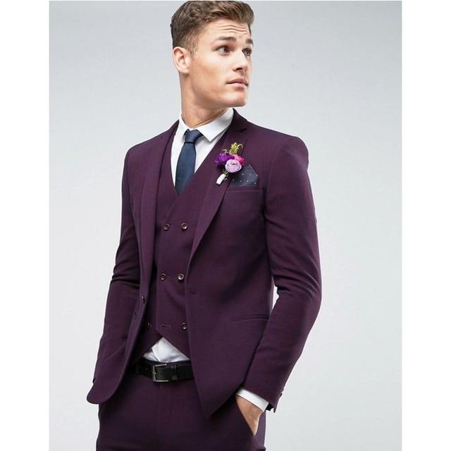 Mor Düğün Takımları Erkekler için Slim Fit 3 Parça Damat Smokin Özel Damat Takım Elbise Balo Erkekler Blazer (Ceket + pantolon + Yelek) FA682