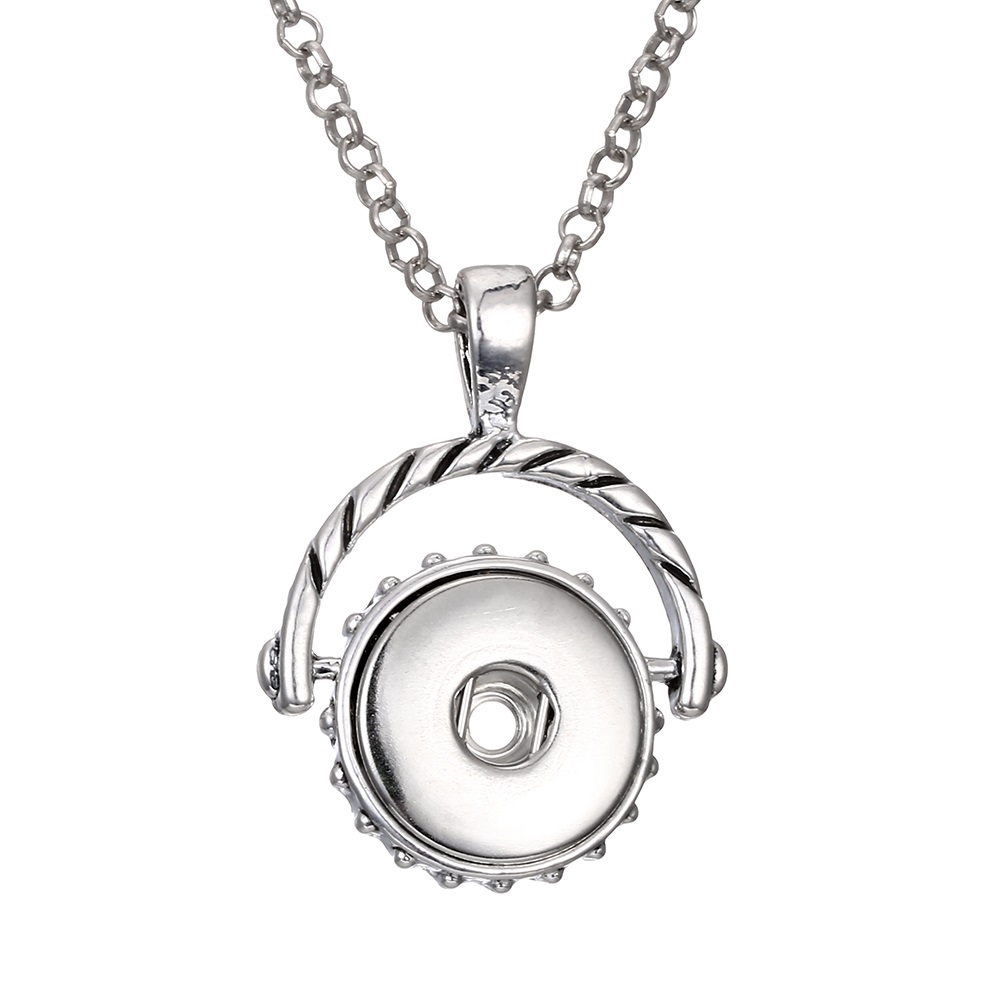 Fashion alloy pendant 18mm snap button necklace jewelry with chain statement woman suspension DIY jewelry