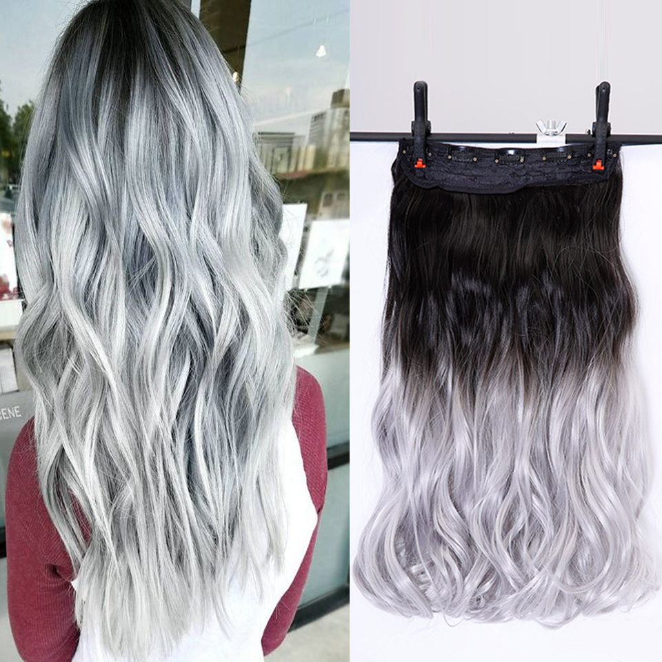 24inch Long Curly Black to Gray Women Hair High Tempreture Synthetic Ombre Hair Piece Clip in Hair Extensions DIFEI