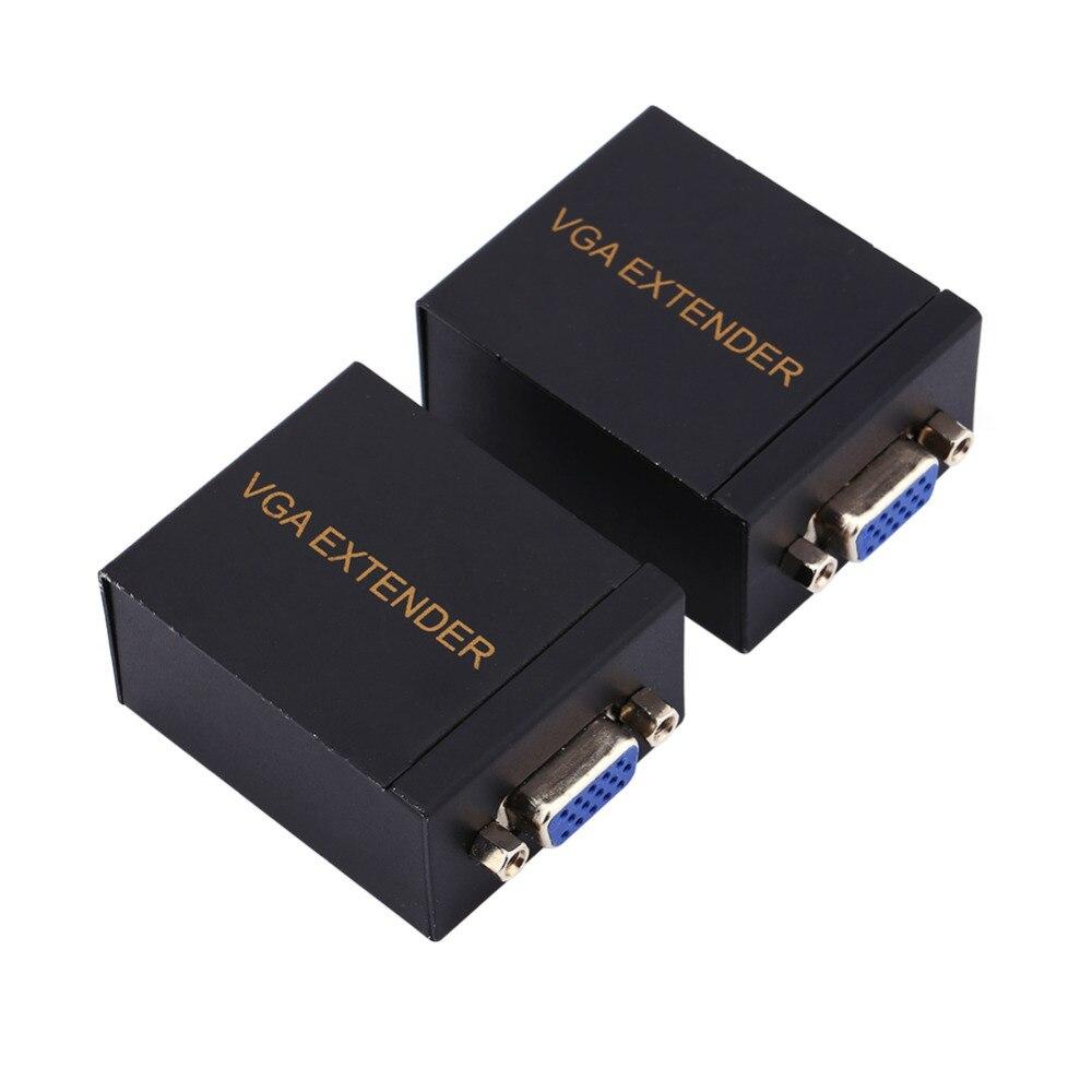 Черный Цвет 60 м VGA сигнала сети Extender отправителя rj45 cat5e/6 приемник передатчик адаптер ...