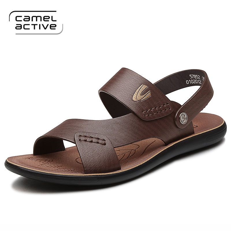 Camel Active Brand Fashion Men Beach Sandals, High Quality Summer Genuine Leather Men Shoes Casual Flat Shoes