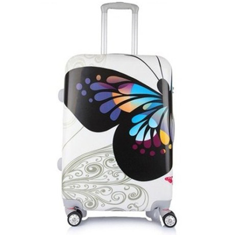 KUNDUI free shipping women and men Suitcase bag, butterfly ABS+PC trolley case, new style, travel luggage, lock, mute,20 24 12 kundui suitcase women men travel bag thickening aluminum alloy laptop large toolbox lockable storage display box briefcase