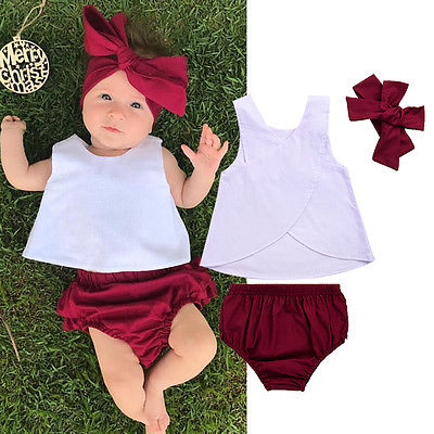 3PCS Infant Toddler Kids Baby Girl Top Vest+Shorts +Headband Sets Clothes Outfit Sleeveless T shirt Ruffled Bottoms Clothing